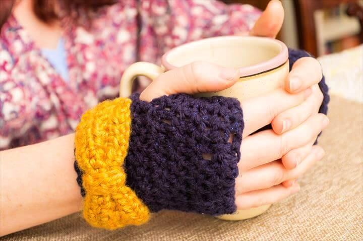 bow crochet, gingerless gloves, diy gloves, crochet glovesl h