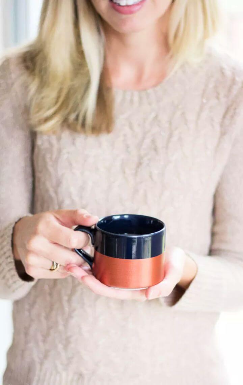 painted coffee mug, dipped coffee mug, diy coffee mug, coffee mug,