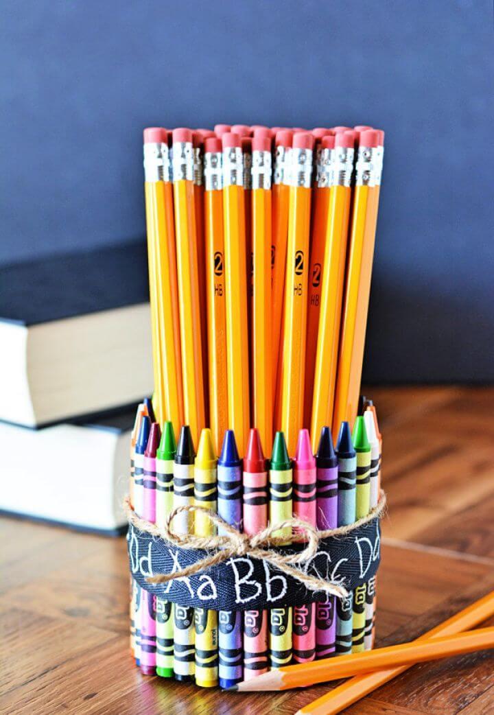 crayon pencil vase, diy ideas, do it yourself, how to make