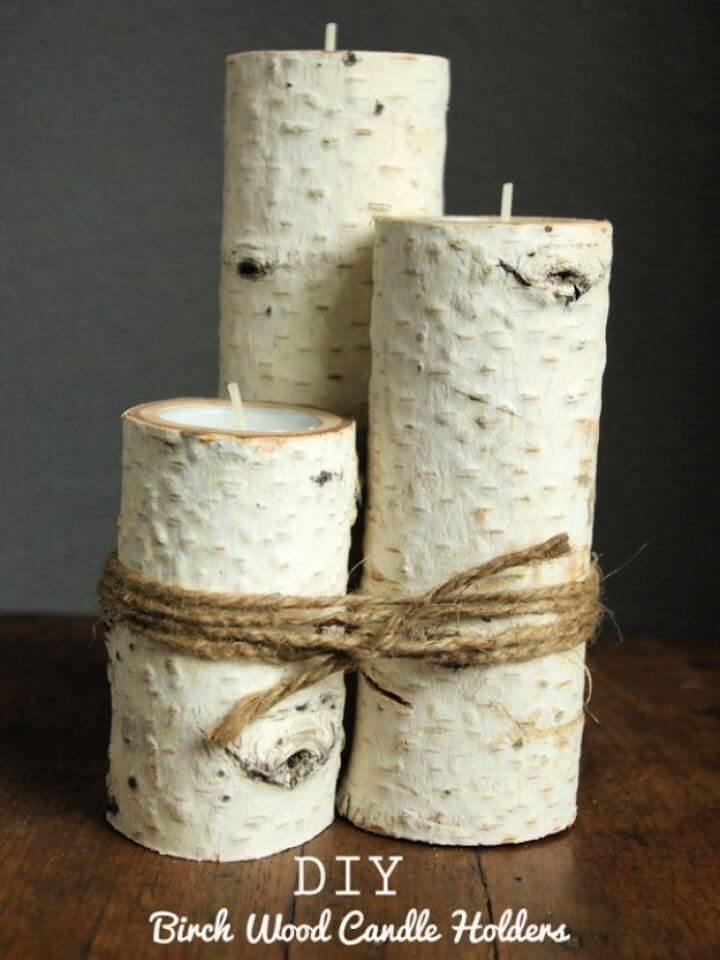 diy birch wood, candle holders, diy ideas,