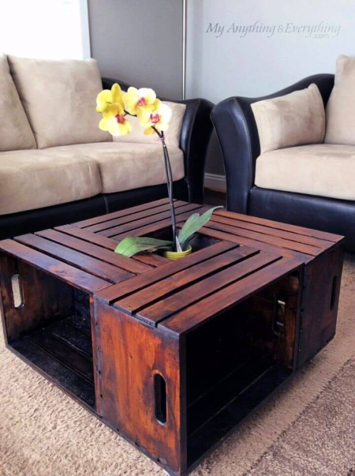 crate coffe table, for living room, diy ideas, on a budget
