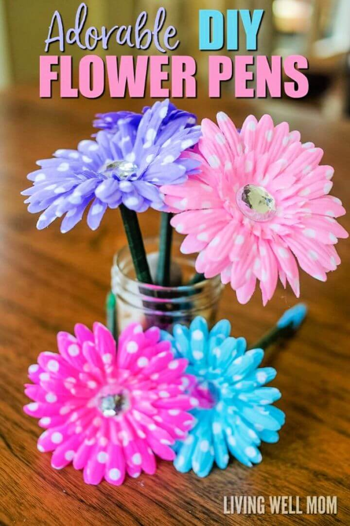 diy flower pens, crafts to make, make and sell, how to crafts, christmas crafts to sell, hot crafts to sell,