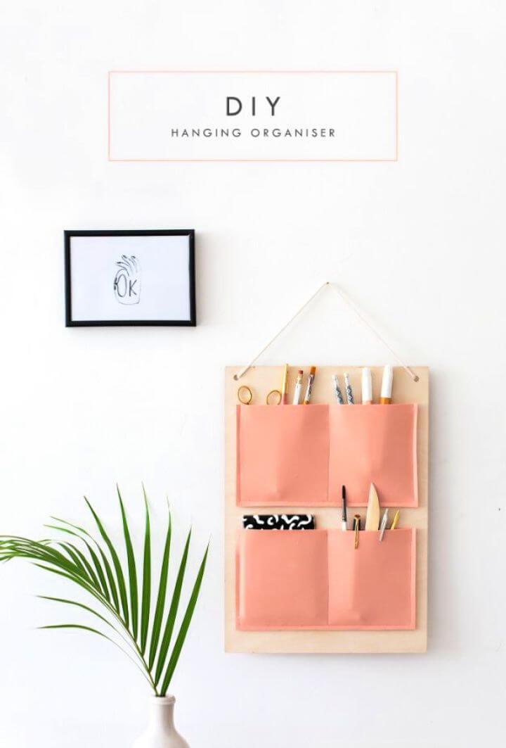 diy hanging organizer, creative ideas for school