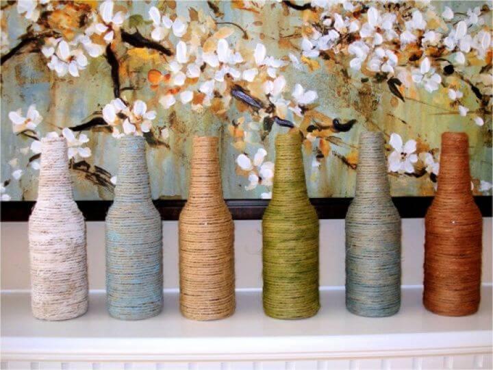 decor bottle, flower vases, diy home decor, diy ideas, diy crafts