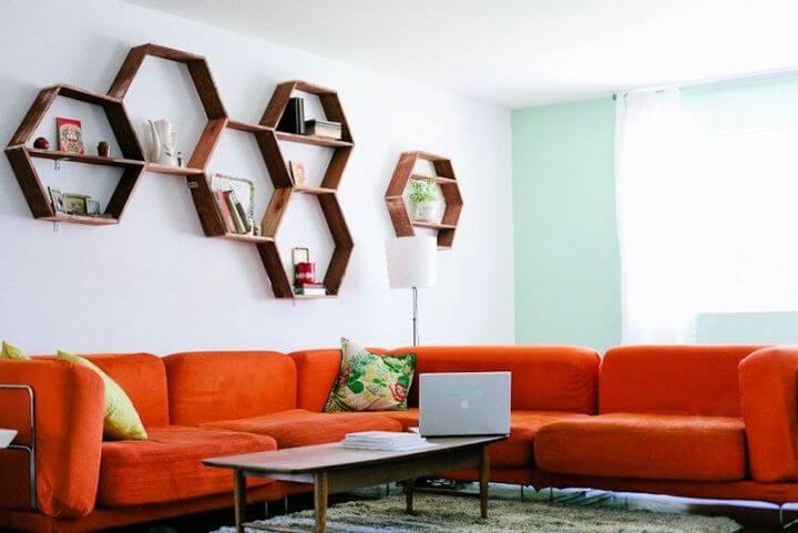 diy honeycomb, shelve, creative ideas, crafts for home, home decor