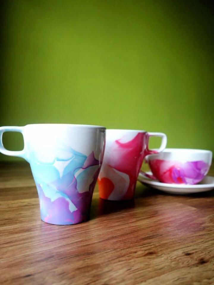 nail polish, coffee mug, marbled mugs, polish mugs, simple coffee mugs,