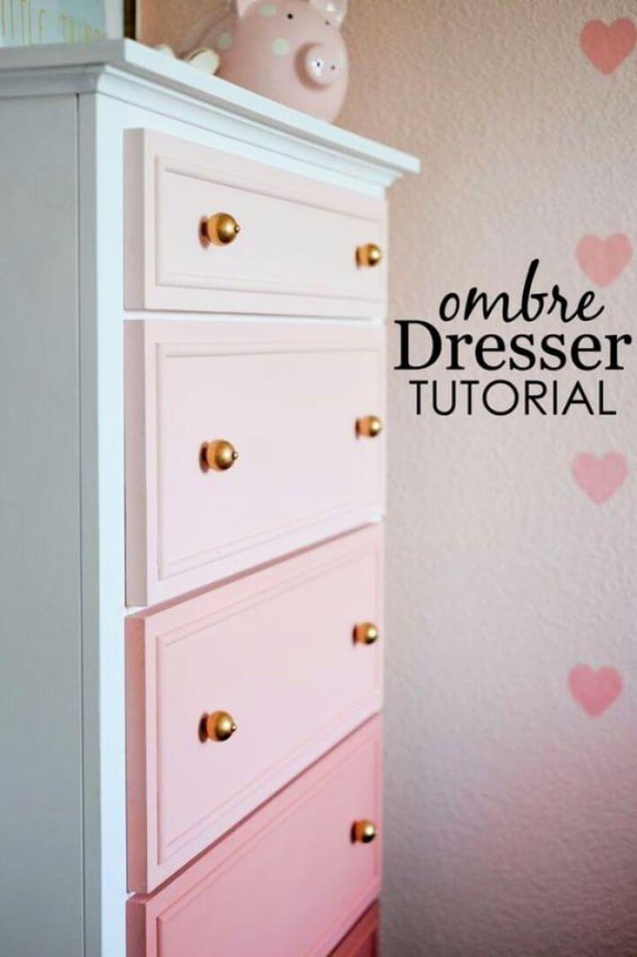 ombre dresser, crafts for girls, diy ideas, diy crafts