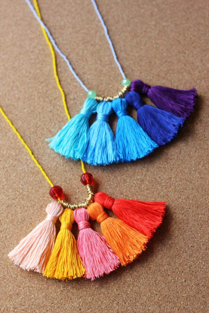 DIY Gifts for Mom - DIY Ombre Tassel Necklace - Best Craft Projects and Gift Ideas, Diy Gifts For Mom, Diy Mothers Day Gifts, Homemade Gifts, Tassel Necklace, Diy Necklace, Diy Mother's Day Crafts, Mother's Day Diy, Diy Christmas Gifts, Christmas Wrapping, Diy Ombre, Easy Diy Crafts, Diy Jewelry Projects, Jewelry Crafts, Diy Projects, Tassel Necklace, Diy Necklace, Crafts For Girls, Diy For Girls, Sunflower Colors, Giraffe Jewelry, Handmade Baby Gifts, Jewellery Box, Twinkle Twinkle, Sunflowers, Etsy Seller, Victoria,