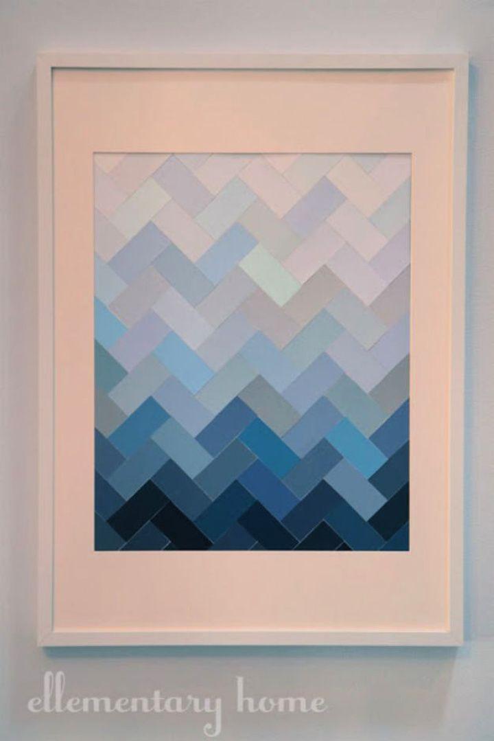 diy paint chip, ombre herringbone, wall art, diy art
