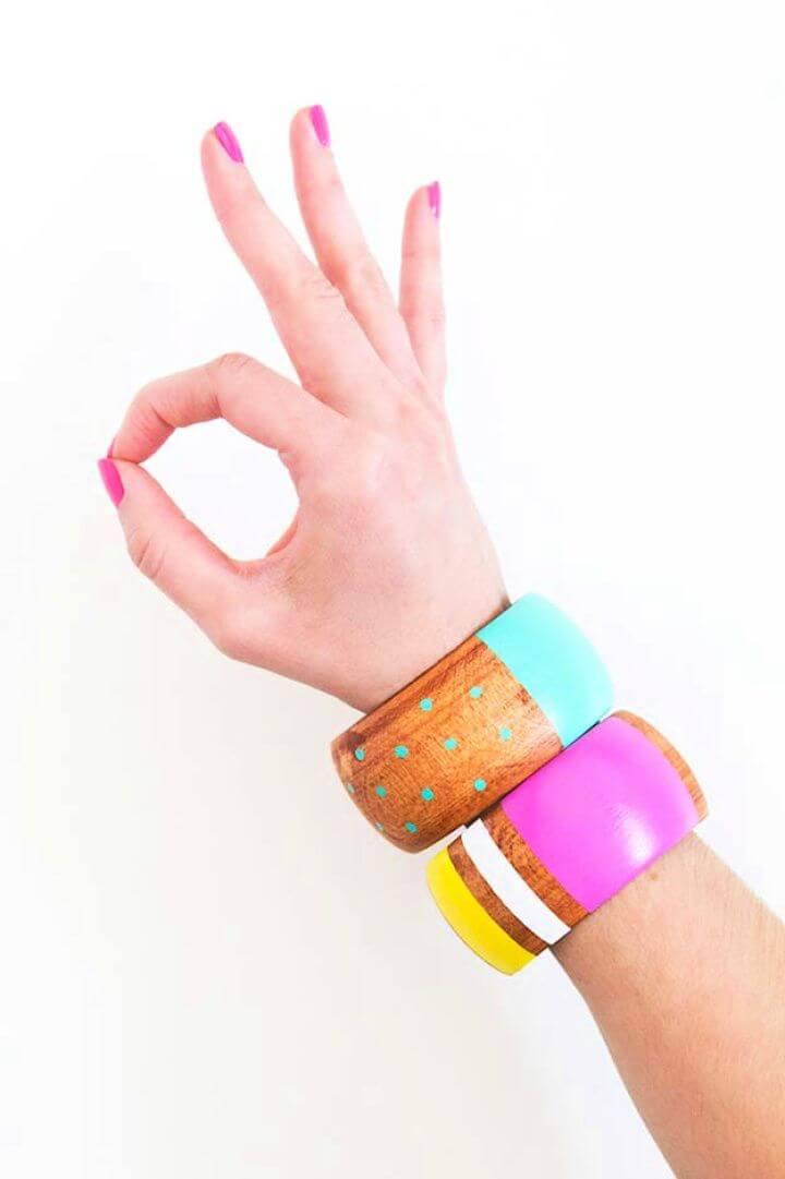 friendship bracelets, wood painted bracelets, how to crafts