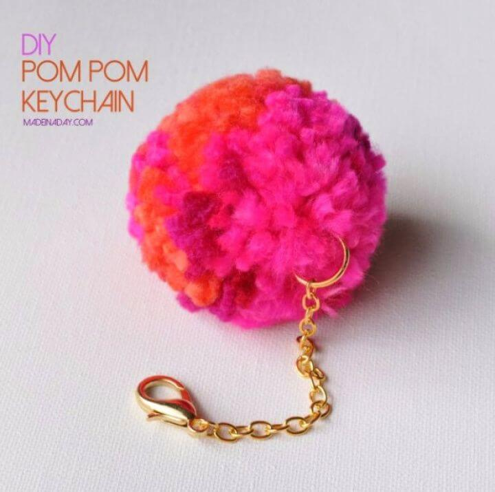 pompom keychain, make and sell, crafts money, diy crafts and projects