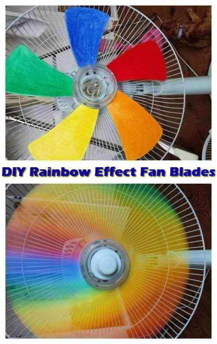 diy rainbow fan, for summer season, effect fan blades,