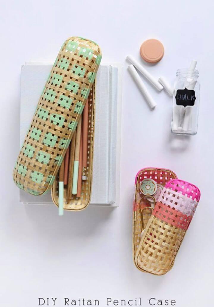 diy rattan pencil, pencil case, school supplies,
