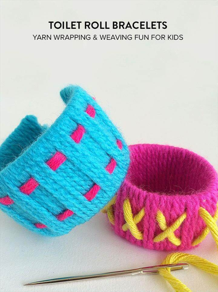 Toilet Roll Bracelets, Sewing For Kids, Diy For Kids, Kids Toilet, Diy Jewelry, Jewelry Making, Toilet Roll Crafts, Toilet Roll Art, Cuff Bracelets, Diy Bracelet,Toilet Roll Art, Toilet Paper Roll Crafts, Paper Crafts, Diy Crafts, Diy For Kids, Craft Kids, Crafts For Girls, Origami, Weaving For Kids,Bracelet Crafts, Jewelry Crafts, Yarn Bracelets, Diy Jewelry Yarn, Jewelry Making, Craft Activities For Kids, Yarn Crafts For Kids, Craft Projects For Kids, Yarn Projects,