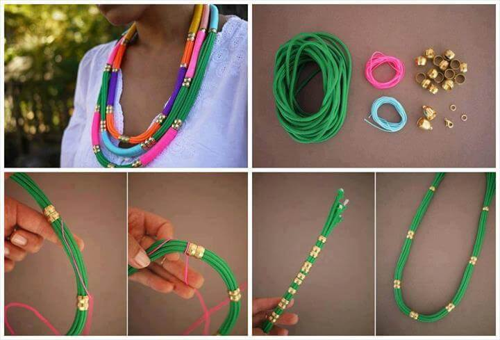 DIY Utility Rope Necklace DIY Projects, Colar Verde, Diy Pins, Artisanal, Jewelry Craftsry, Collar Cordon, Flower Headdress, Rope Necklace, Crochet Necklace, Textile Jewelry, Wire Jewelry, Jewelry Art, Jewelry Accessories, Festival Accessories, Crochet Jewellery, Handmade Jewelry, Jewelry Ideas, Jewelry Trends, Diy Collier, Diy Tutorial, Rope Necklace, Neon Necklace, Summer Necklace, Tribal Necklace, Compression Sleeves, Friendship Necklaces, Friendship Collar,