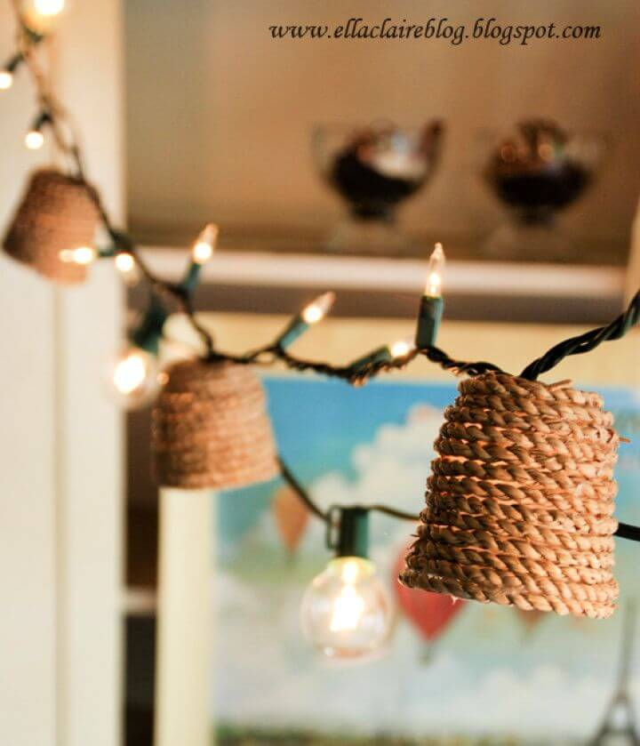 diy jute twinkle, light shade room, lightning ideas, for room projects,