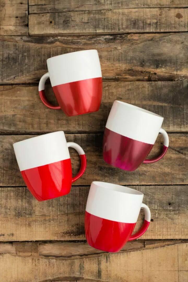 diy ideas, two tone, dipped coffee mug, diy mugs, ideas,