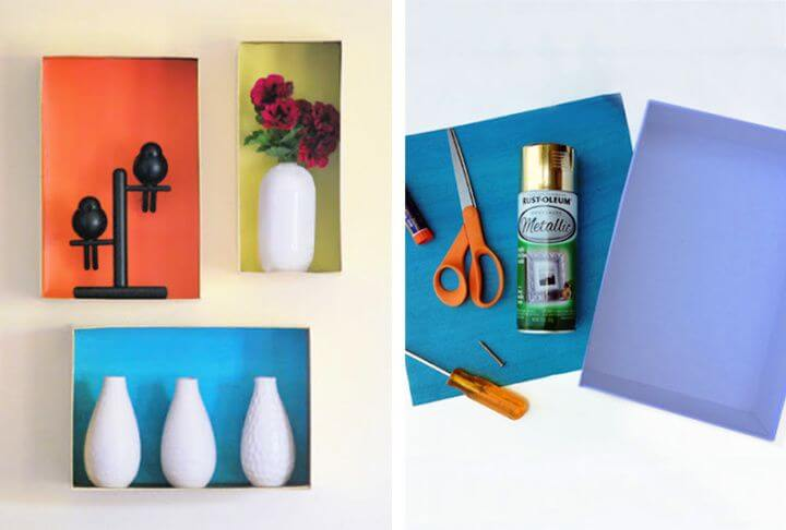wall art with shoebox, wall art with shelve, creative ideas