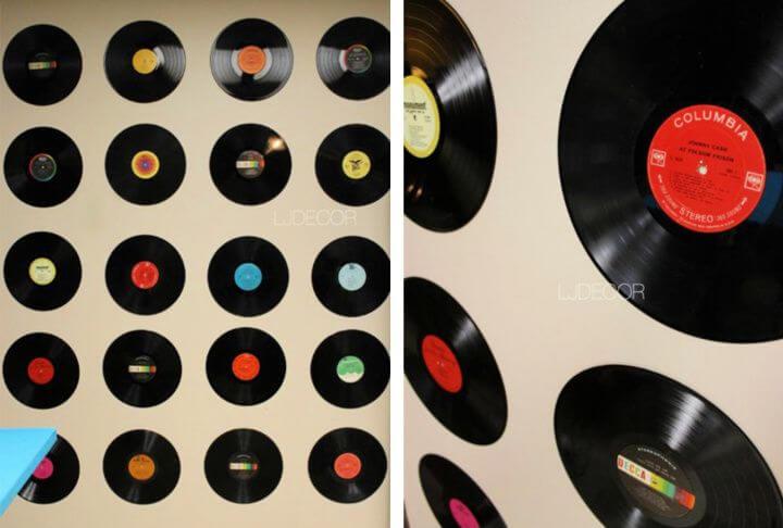diy wall art, vinyl records, disk records wall, decor and art