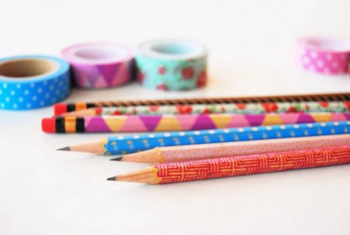 holiday crafting, decorating pencils, with washi tape, how to crafts,