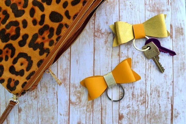 faux leather, bow keychein, key Chain make & sell, easy diy ideas,