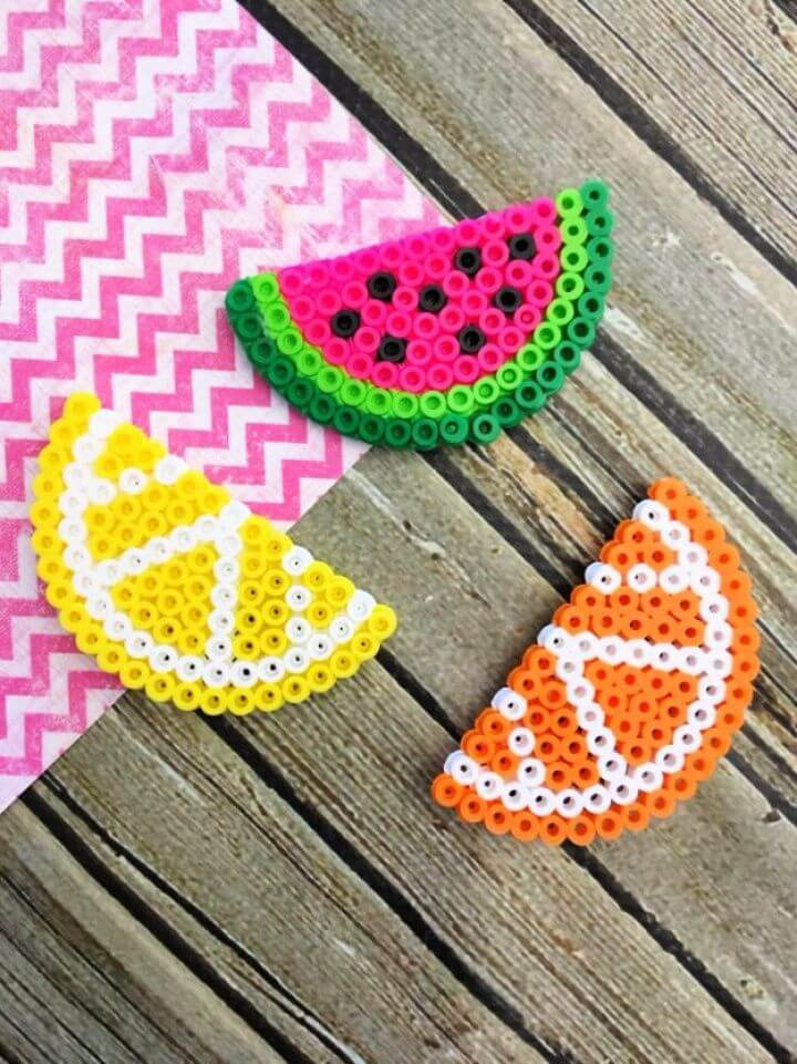 fruit perler, bead magnets, how to make, crafts money, how to crafts,