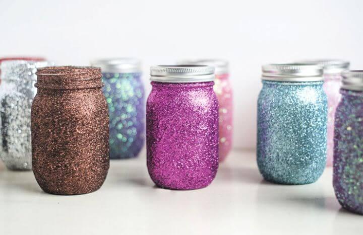 glitter mason jars, glitter ideas, glitter decor, how to decor, ideas, for home