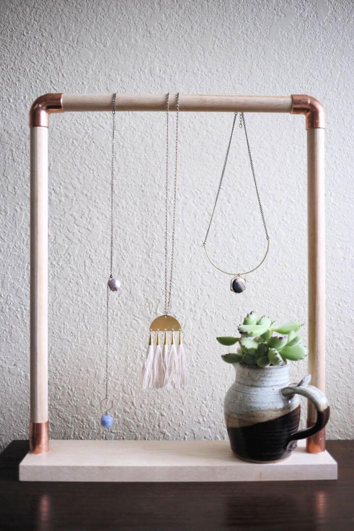 how to, make a, pipe jewelry, hanger idea,