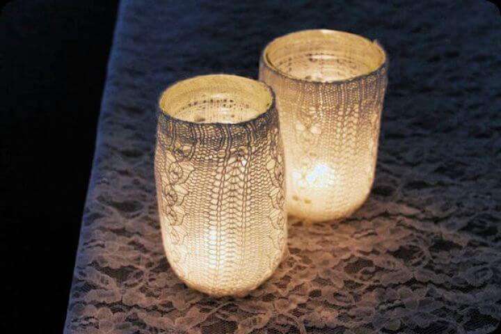 lace mason jars, covered mason jars, candle mason jars