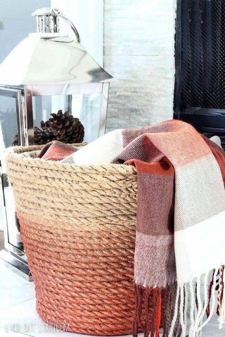 living room, ombre effect rope,blanket basket, diy ideas