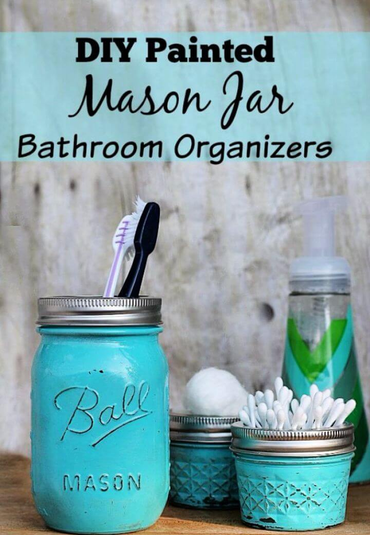 diy ideas, do it yourself, bathroom organizer jars, mason jars, how to,