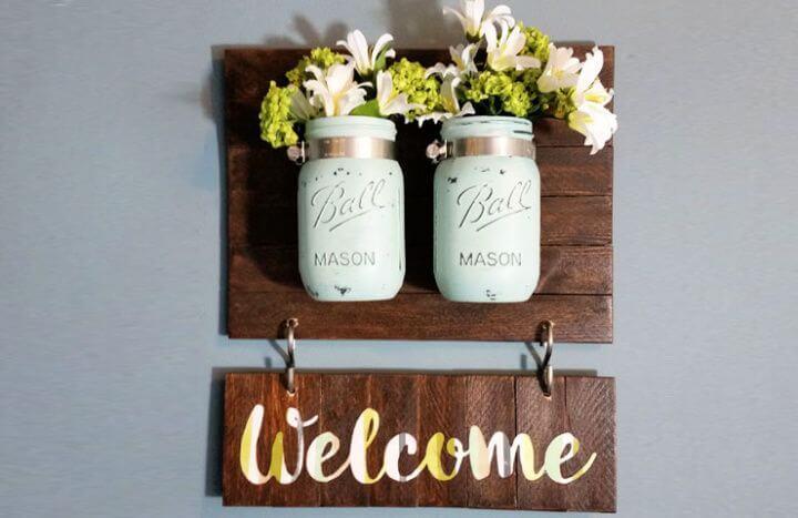 mason jars, welcome mason jars, sign board mason jars, sign board ideas,