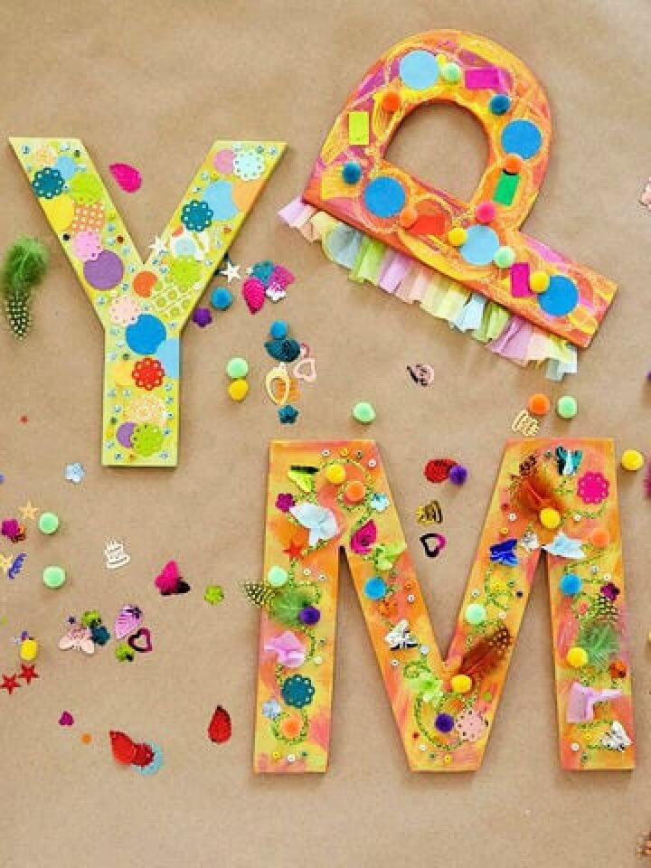 monogram letters, media ideas, diy ideas, diy crafts for kids, how to crafts,