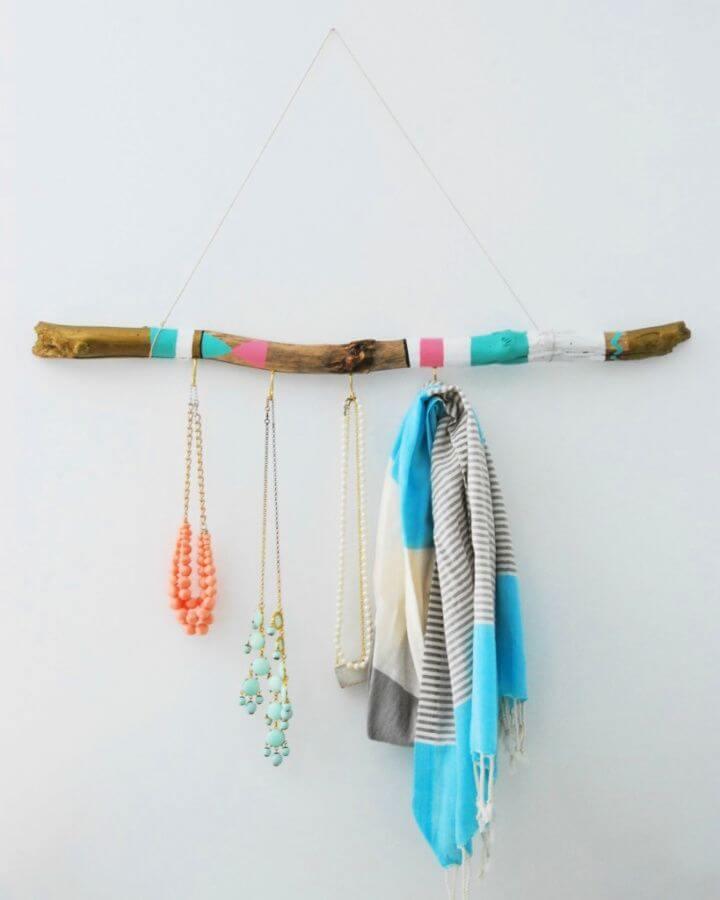 painted hanger, for jewelry, hanging jewelry organizer, wood jewelry organizer
