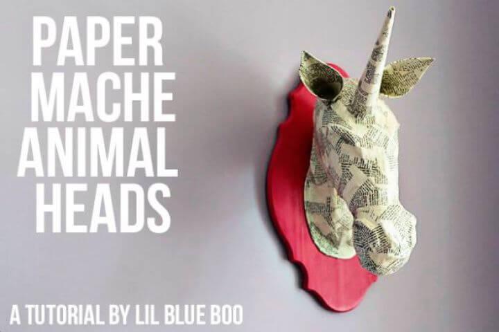 paper mache, animal heads, diy crafts, flowers crafts