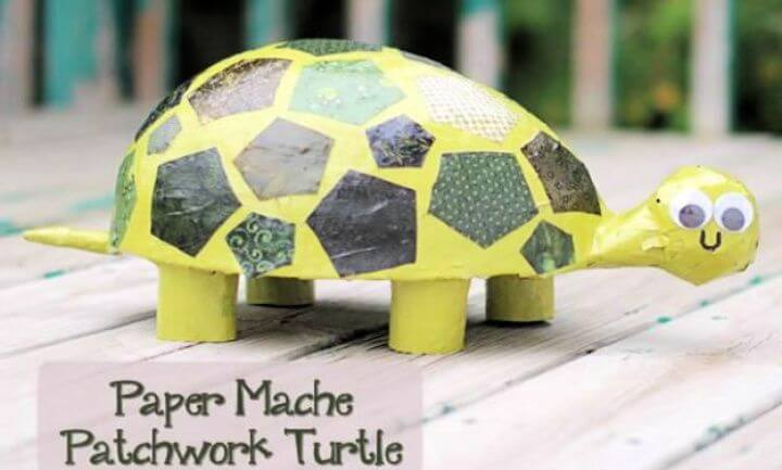 paper mache, patchwork turtle, simple paper crafts, paper crafts, step by step, how to make