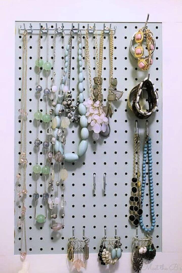 pegboard jewelry organizer, ideas, for jewelry, gold jewelry organizer,
