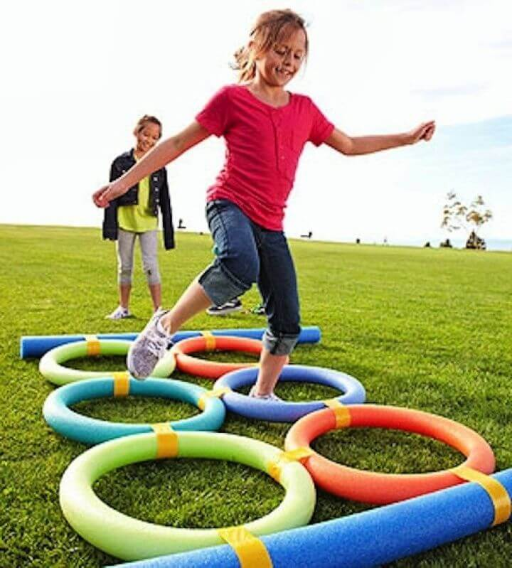 pool noodle, obstacle, course ideas, pool noodle obstacle, ideas for kids,