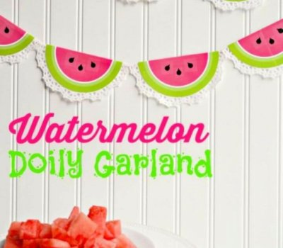 printable watermelon, doily garland, diy ideas,