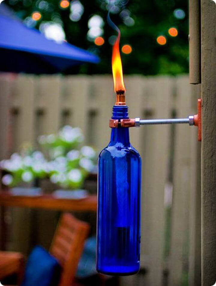 diy crafts and projects, for summer season, recycled wine, bottle torch, wine bottle torch, crafts ideas