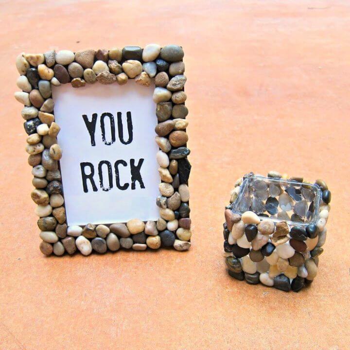 diy rocks idea, pebbled vanity accessories, living room