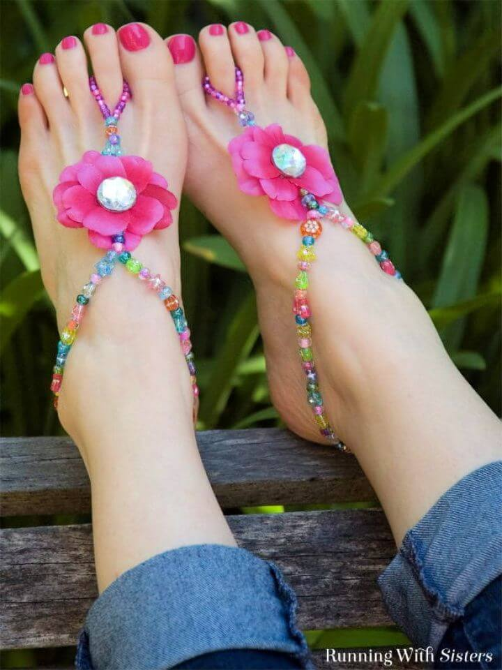 flip flop, summer beaded, barefoot sandals, summer crafts
