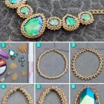 Tiny Beads Decorated Rhinestones DIY Necklace Tutorial, Necklace Tutorial, Diy Necklace, Stone Necklace, Homemade Bracelets, Simple Jewelry, Diy Jewelry, Jewelry Necklaces, Diy Accessories, Friendship Bracelets,