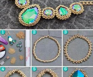 Tiny Beads Decorated Rhinestones DIY Necklace Tutorial, Necklace Tutorial, Diy Necklace, Stone Necklace, Homemade Bracelets, Simple Jewelry, Diy Jewelry, Jewelry Necklaces, Diy Accessories, Friendship Bracelets,