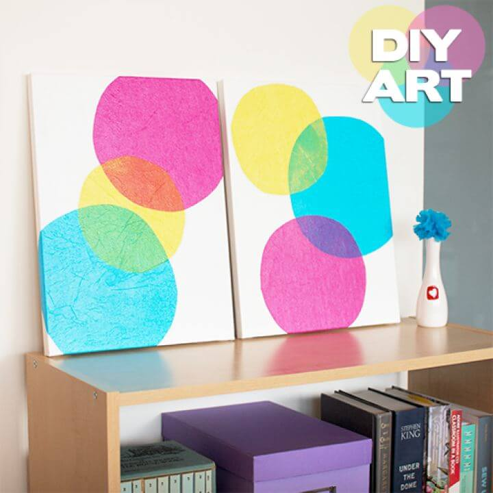tissue paper wall decor, art with tissue, how to decor walls