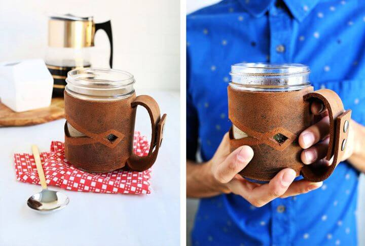 creative gift ideas, leather mason jar sleeve, how to, diy ideas, diy crafts and projects