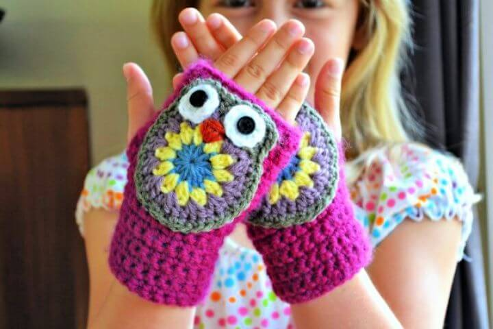crochet owl gloves, fingerless mittens, how to crafts