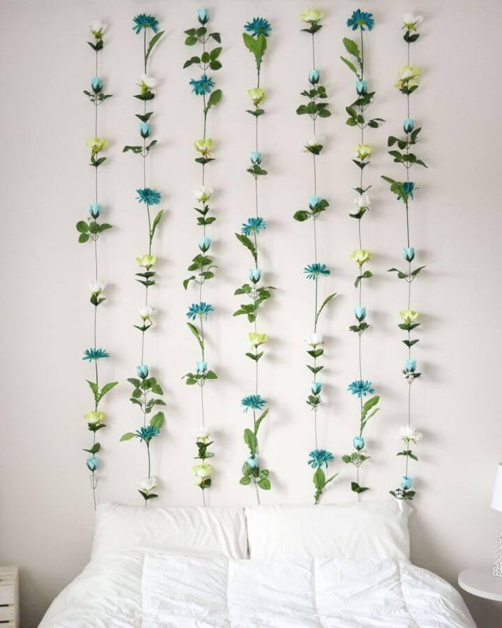 diy flowers wall, headboard creative, wall ideas, room decor ideas