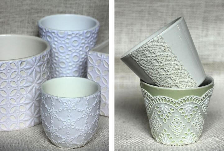 diy home decor, decor lace bowls, and jars, for home decorating