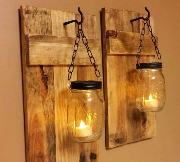 hanging mason jars, lightning mason jars, wooden mason jars